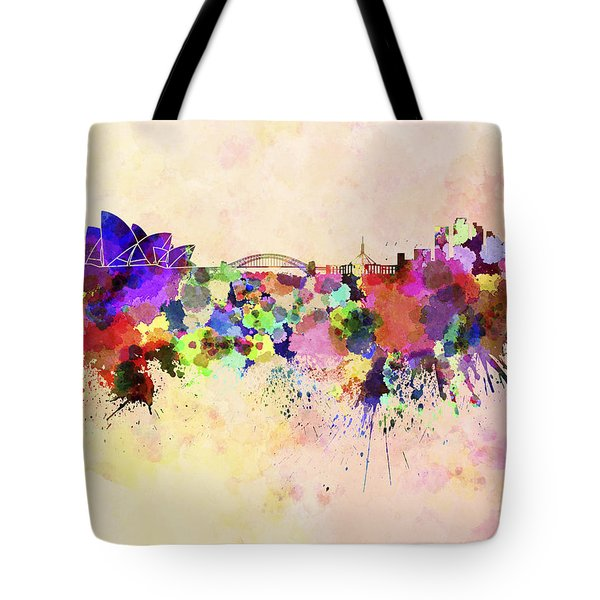 Sydney Skyline In Watercolor Background Tote Bag by Pablo Romero
