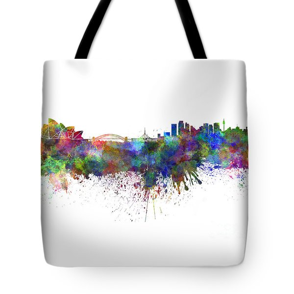Sydney Skyline In Watercolor On White Background Tote Bag