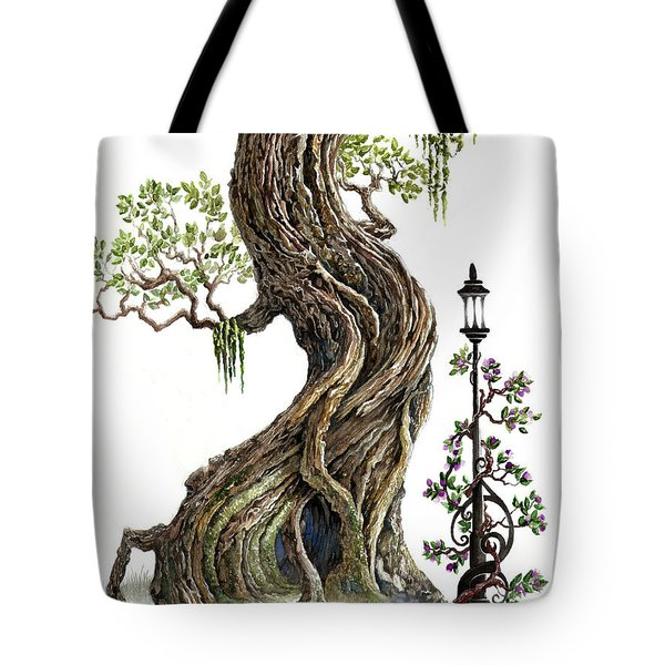 Tote Bag featuring the painting Sylvia And Her Lamp On White by Curtiss Shaffer