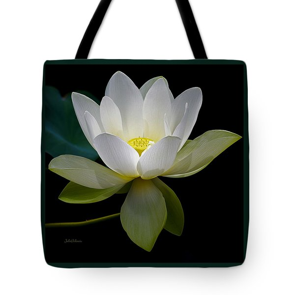 Symbolic White Lotus Tote Bag by Julie Palencia