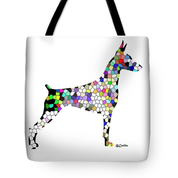 Symetry In Doberman Tote Bag by Maria C Martinez