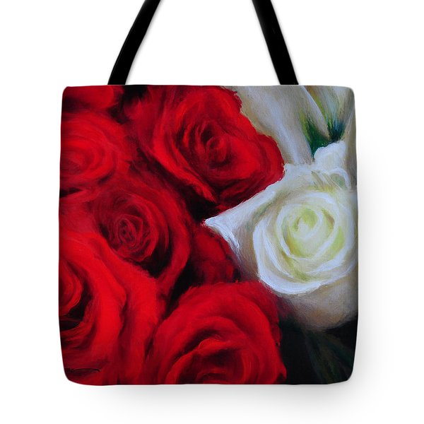 Da143 Symphony In Red And White By Daniel Adams Tote Bag