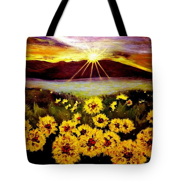 Tote Bag featuring the painting Symphony Of The Sun.. by Cristina Mihailescu