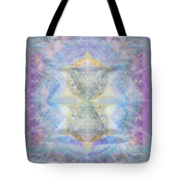 Synthecentered Doublestar Chalice In Blueaurayed Multivortexes On Tapestry Lg Tote Bag