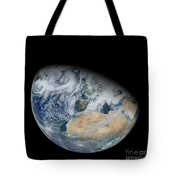 Synthesized View Of Earth Showing North Tote Bag by Stocktrek Images