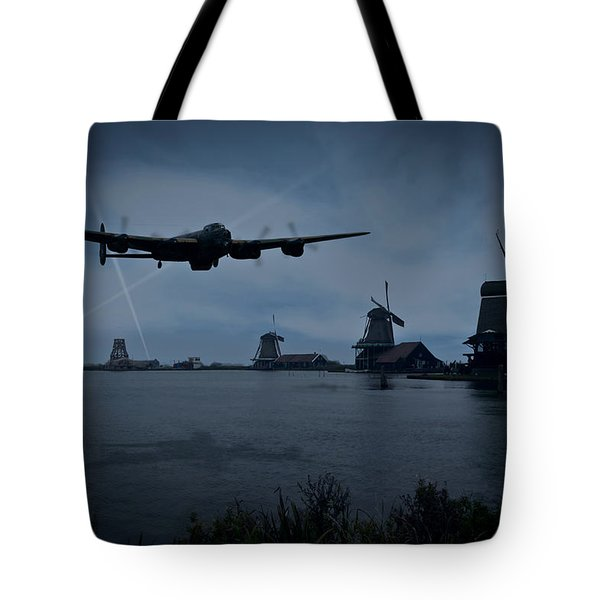 Dambusters Lancaster T For Tommy En Route To The Sorpe Tote Bag by Gary Eason