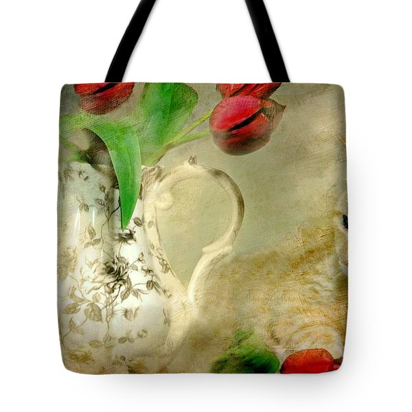 Tabby And Tulips Tote Bag