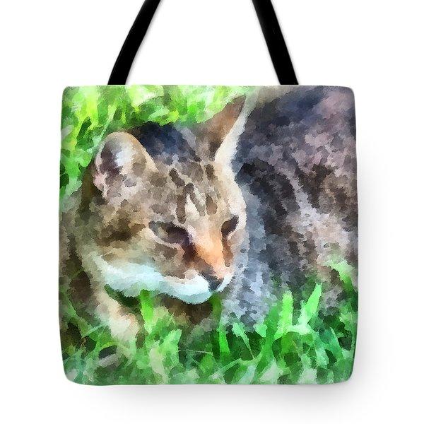 Tabby Cat Closeup Tote Bag by Susan Savad