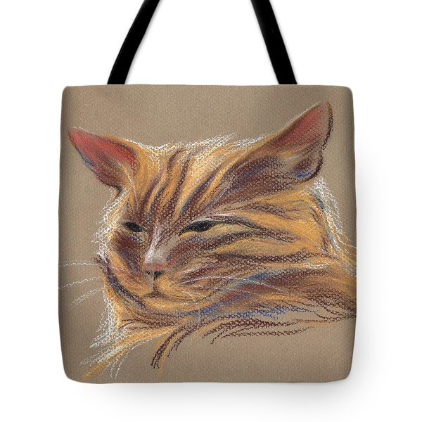 Tote Bag featuring the pastel Tabby Cat Portrait In Pastels by MM Anderson