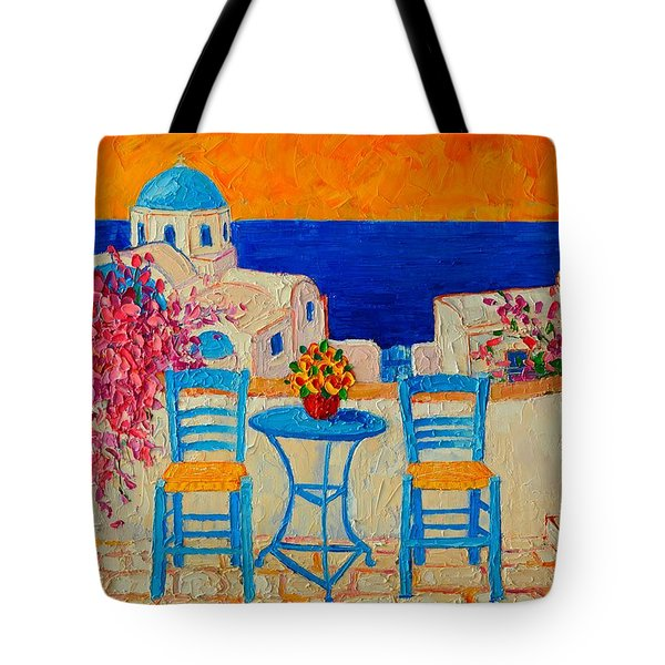 Table For Two In Santorini Greece Tote Bag