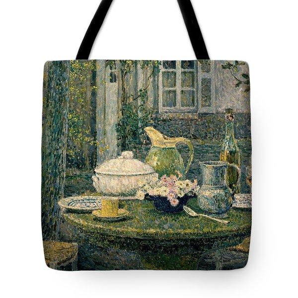 Table Laden For Spring Tote Bag by Henry Eugene Le Sidaner