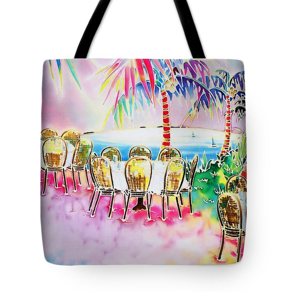 Tables On The Beach Tote Bag