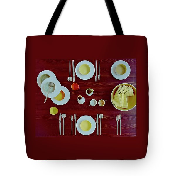 Tableware Set On A Wooden Table Tote Bag