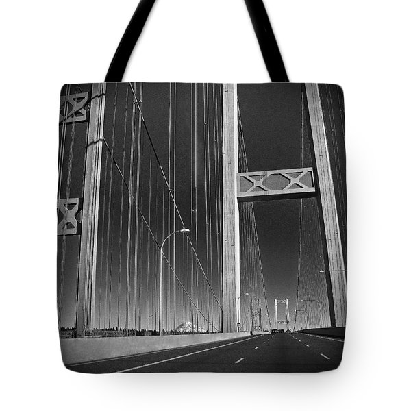 Tacoma Narrows Bridge B W Tote Bag by Connie Fox