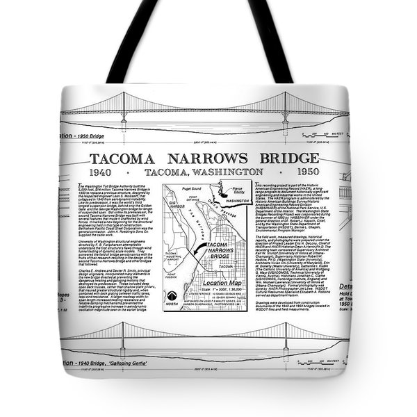 Tacoma Narrows Bridge Habs P1 Tote Bag by Photo Researchers