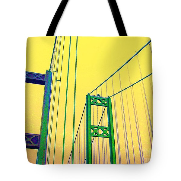 Tote Bag featuring the photograph Tacoma Narrows Yellow by Ann Johndro-Collins