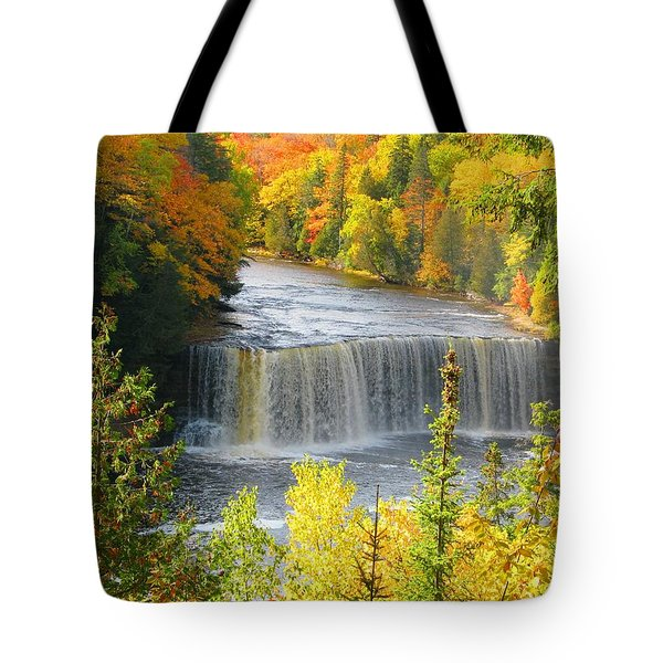 Tahquamenon Falls In October Tote Bag by Keith Stokes