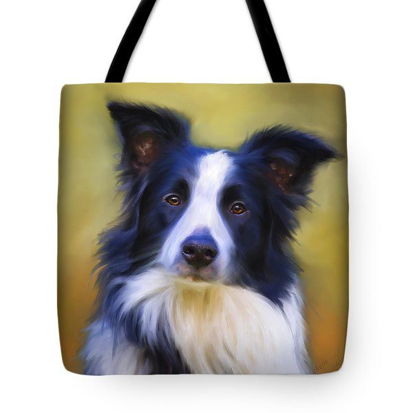 Beautiful Border Collie Portrait Tote Bag