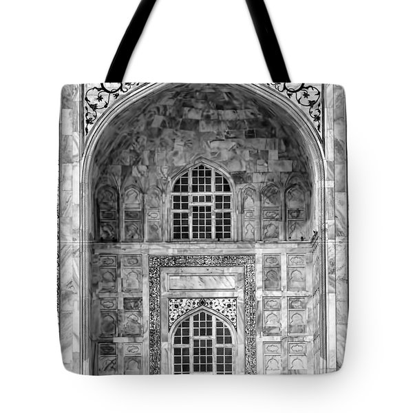 Taj Mahal Close Up In Black And White Tote Bag by Amanda Stadther