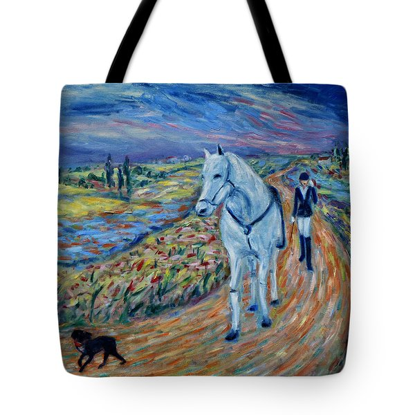 Tote Bag featuring the painting Take Me Home My Friend by Xueling Zou