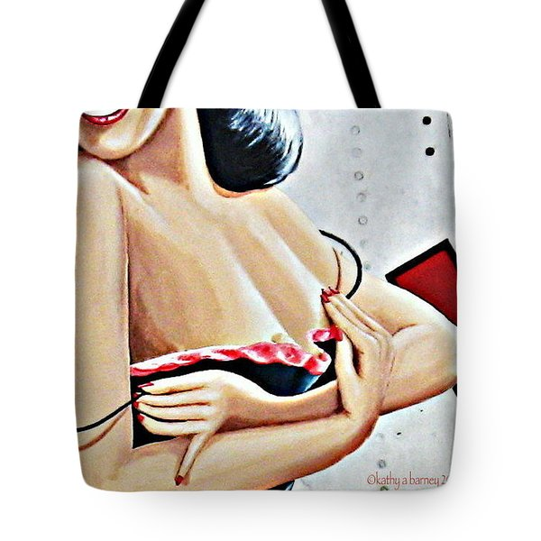 Take-off Time Bomber Babe Tote Bag by Kathy Barney