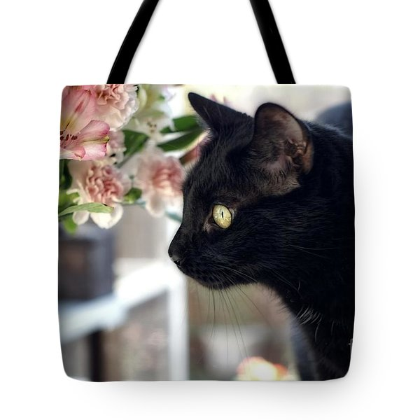 Take Time To Smell The Flowers Tote Bag by Peggy Hughes