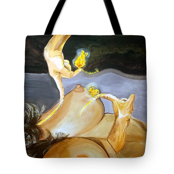 Tote Bag featuring the painting Takeoff The Touch Despegue Del Tacto by Lazaro Hurtado