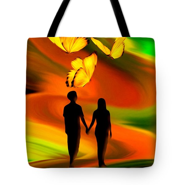 Tote Bag featuring the digital art Taking The Butterflies Road - Fantasy Painting By Giada Rossi by Giada Rossi