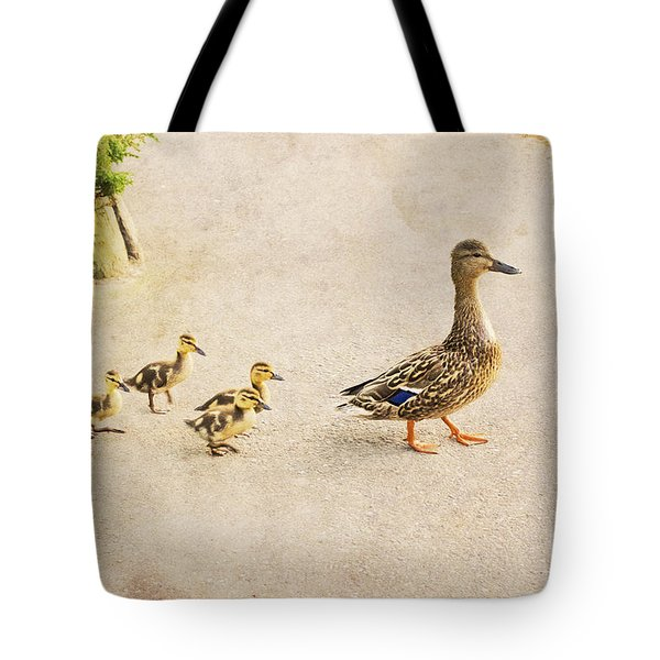 Taking The Ducklings For A Walk Tote Bag by Maria Janicki