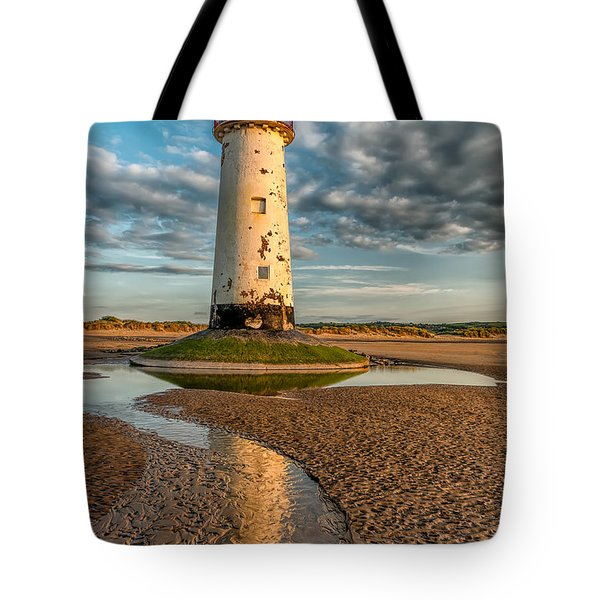 Talacre Lighthouse Sunset Tote Bag by Adrian Evans