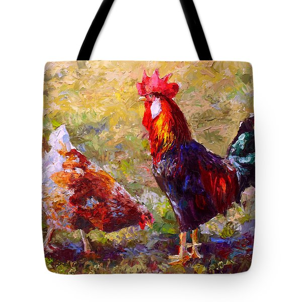 Rooster And Hen Farm Art Chicken Painting  Tote Bag