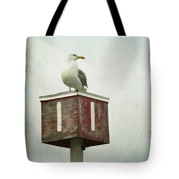 Tote Bag featuring the photograph Gull With Blue And Red by Brooke T Ryan
