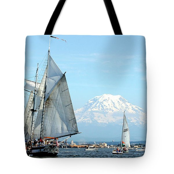 Tall Ship And Mount Rainier Tote Bag by John Bushnell