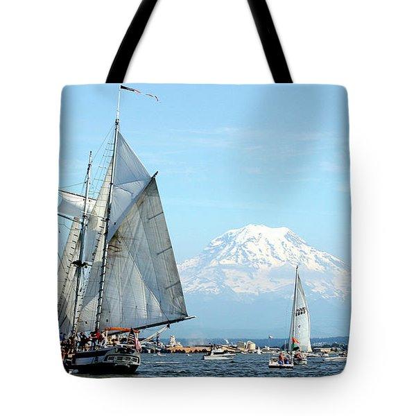 Tall Ship And Mount Rainier Tote Bag