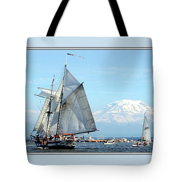 Tall Ship And Mt. Rainier Tote Bag
