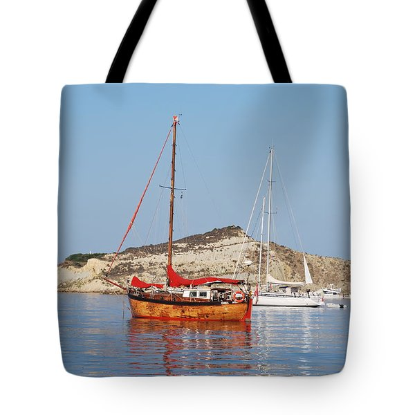 Tote Bag featuring the photograph Tall Ship by George Katechis