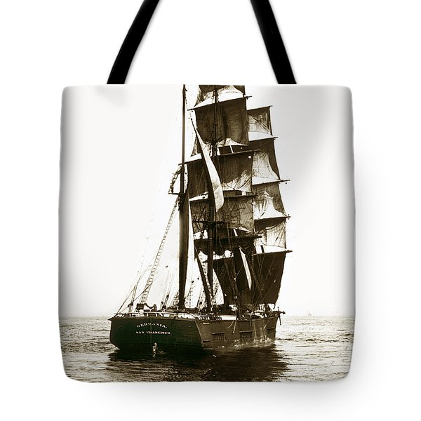 Tote Bag featuring the photograph Tall Ship Germania Out Of San Francisco California  Circa 1900 by California Views Mr Pat Hathaway Archives