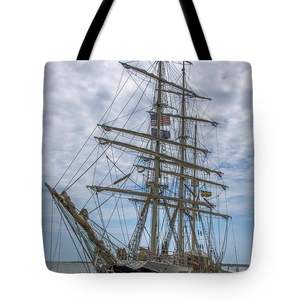 Tote Bag featuring the photograph Tall Ship Gunilla Vertical by Dale Powell