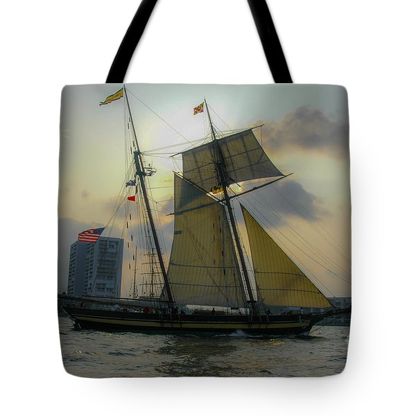 Tote Bag featuring the photograph Tall Ship In Charleston by Dale Powell