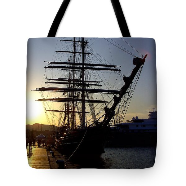 Tall Ship In Ibiza Town Tote Bag