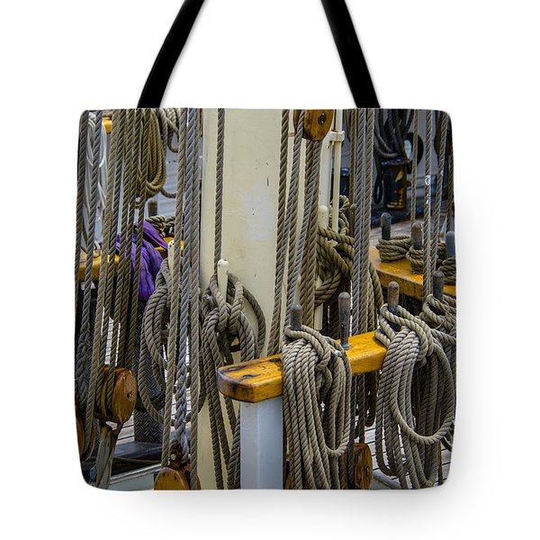 Tall Ship Lines And Blocks Tote Bag by Dale Powell