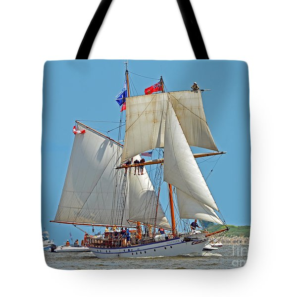 Tote Bag featuring the photograph Tall Ship Pathfinder by Rodney Campbell