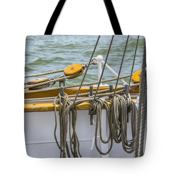 Tote Bag featuring the photograph Tall Ship Rigging by Dale Powell