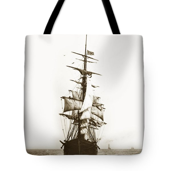 Tote Bag featuring the photograph Tall Ship Sailing Out Of San Francisco California Circa 1900 by California Views Mr Pat Hathaway Archives