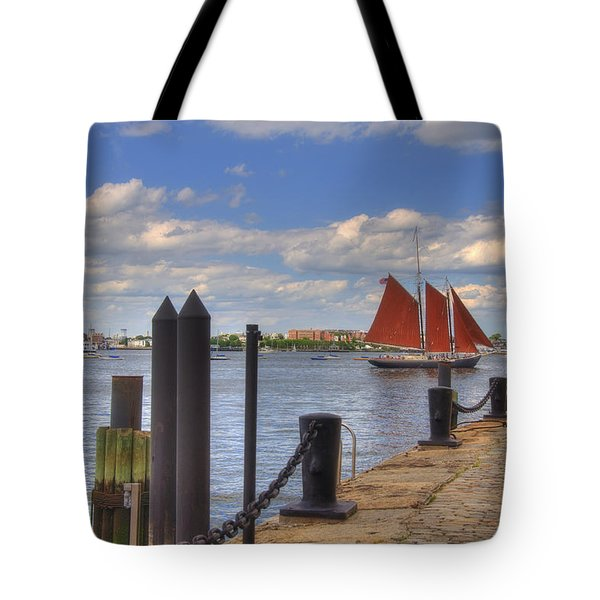 Tall Ship The Roseway In Boston Harbor Tote Bag by Joann Vitali