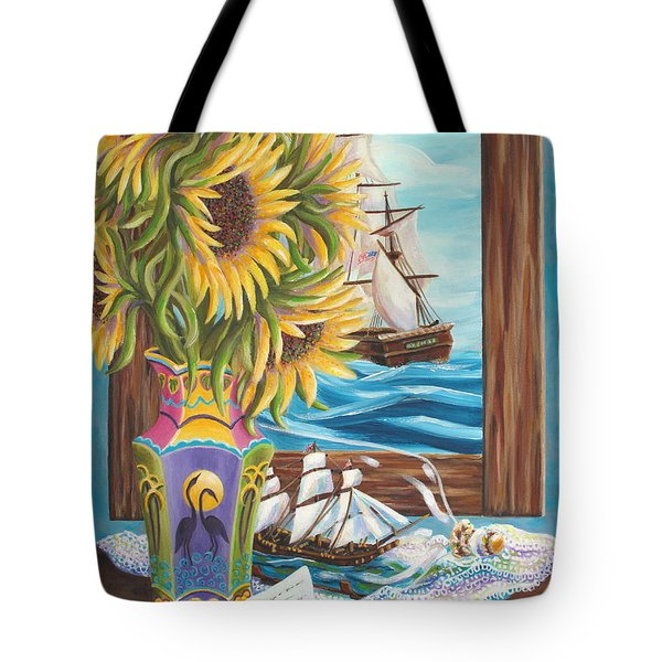 Tall Ships And Sunflowers Tote Bag