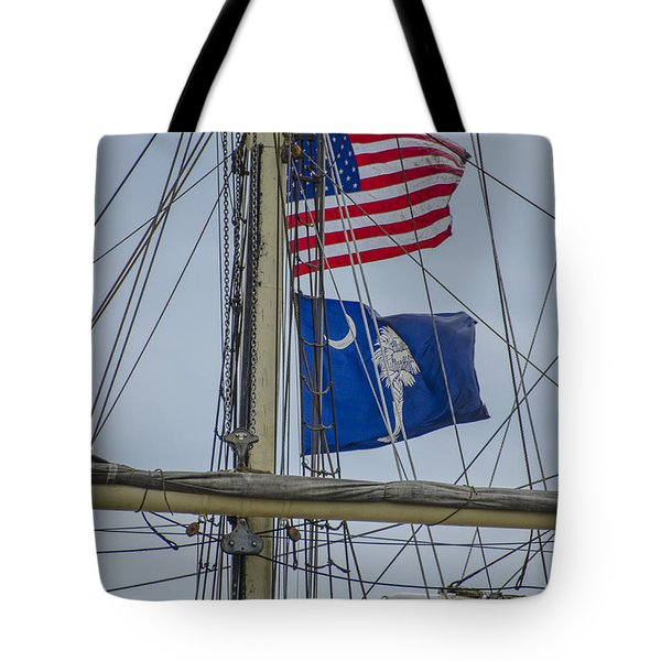 Tote Bag featuring the photograph Tall Ships Flags by Dale Powell