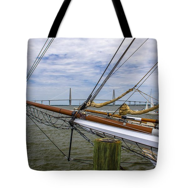 Tote Bag featuring the photograph Tall Ships In Charleston by Dale Powell