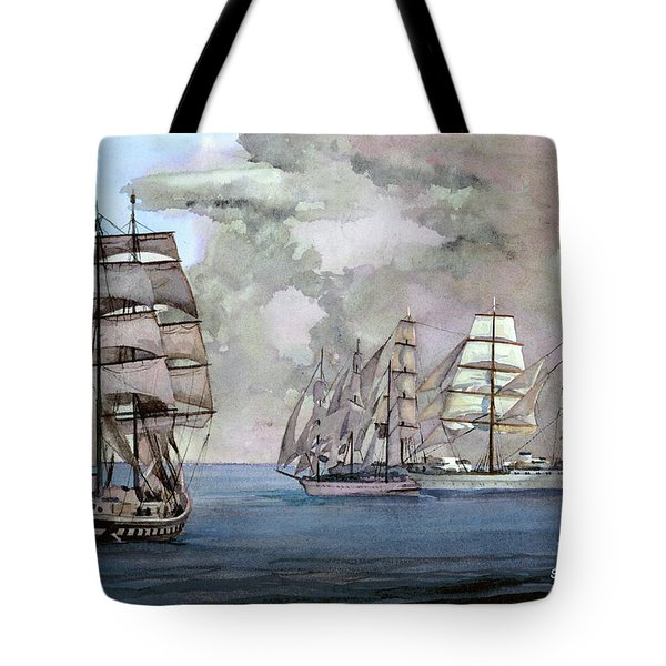 Tall Ships Off Newport Tote Bag by Steve Hamlin