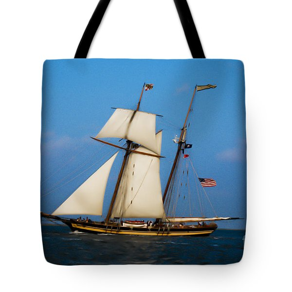 Tote Bag featuring the digital art Tall Ships Over Charleston by Dale Powell